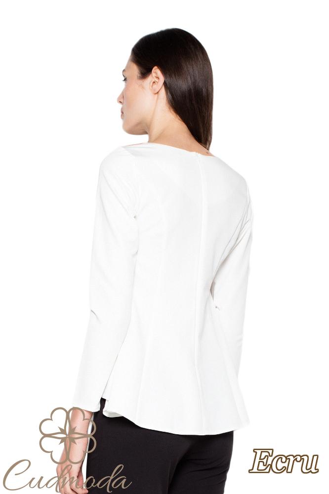 CM3003 Kobieca bluzka o asymetrycznym fasonie - ecru