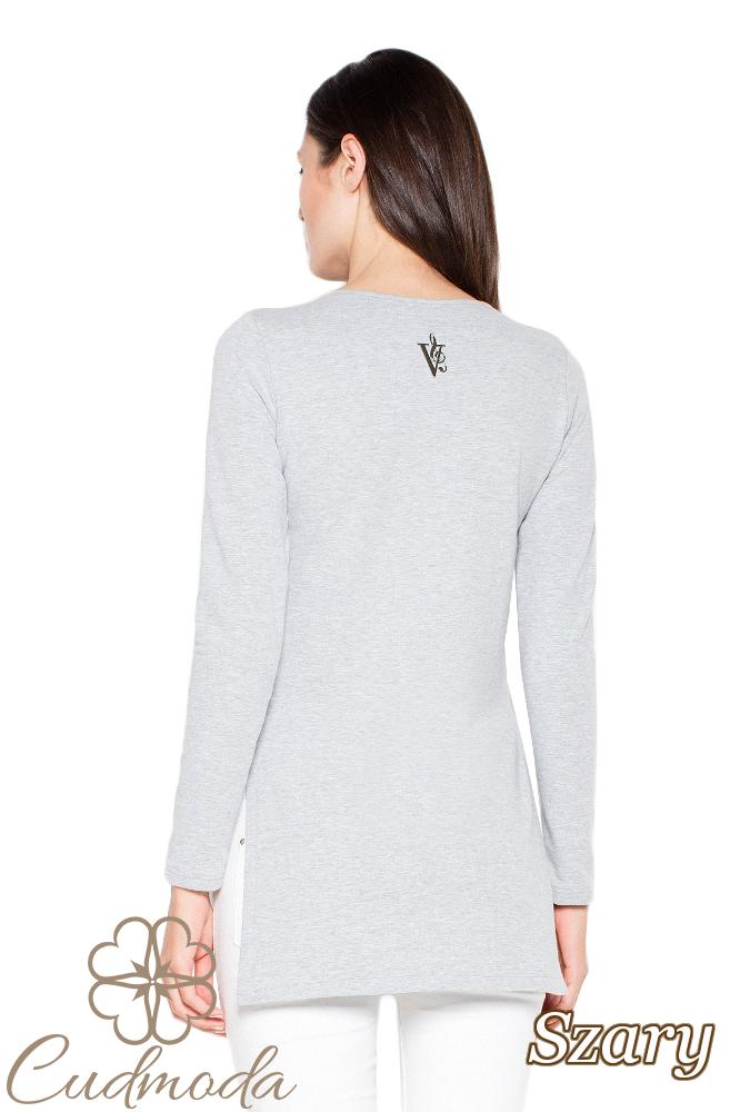 CM3004 Bawełniana bluza ze stylowym nadrukiem - szara