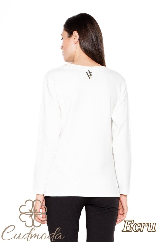 CM3006 Asymetryczna bluza damska z rozcięciami - ecru