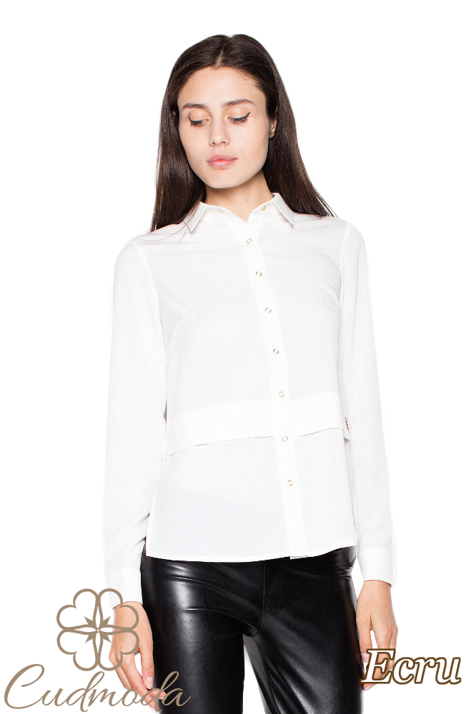 CM2937 Kobieca koszula z długim rękawem - ecru