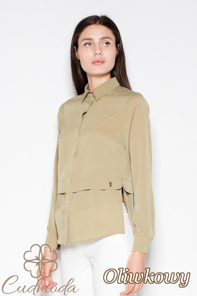 CM2937 Kobieca koszula z długim rękawem - oliwkowa