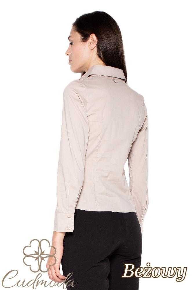 CM2938 Klasyczna koszula damska zapinana na napy - beżowa