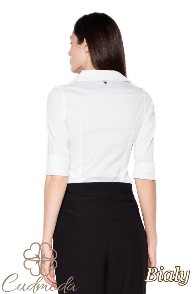 CM2938 Klasyczna koszula damska zapinana na napy - biała