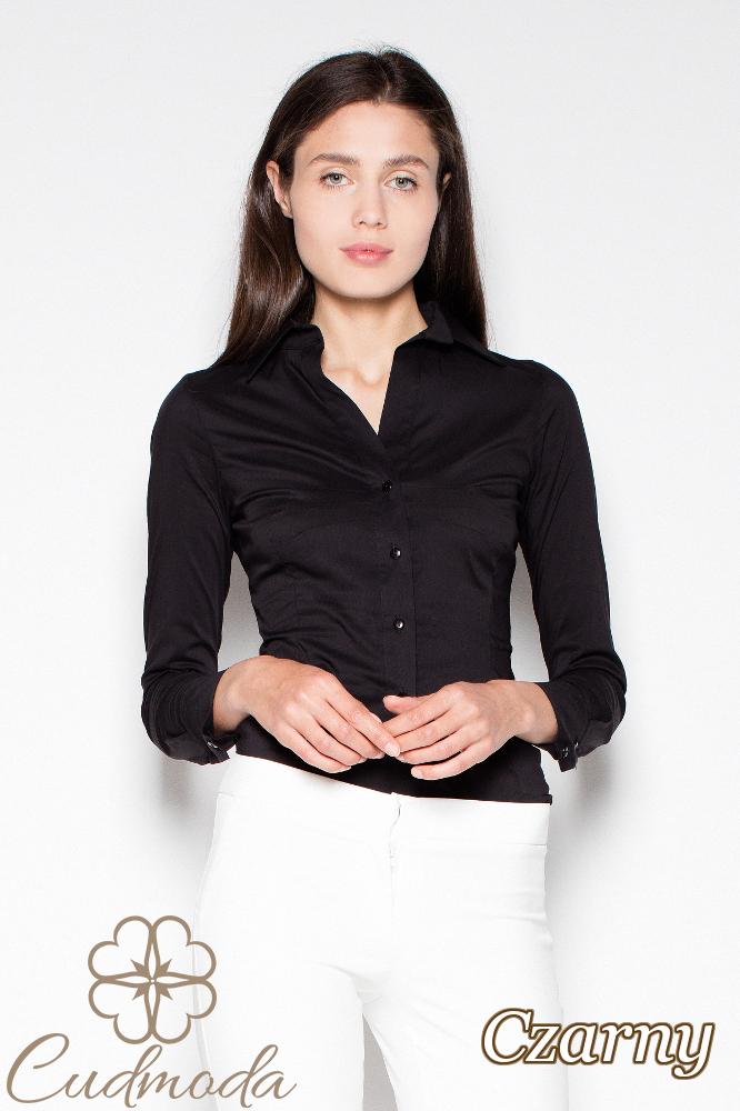 fb630528b748db CM2938 Klasyczna koszula damska zapinana na napy - czarna ...