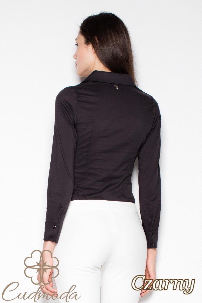 CM2938 Klasyczna koszula damska zapinana na napy - czarna