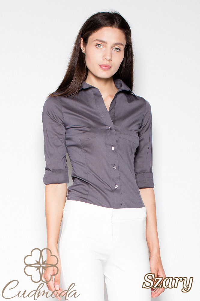 CM2938 Klasyczna koszula damska zapinana na napy - szara