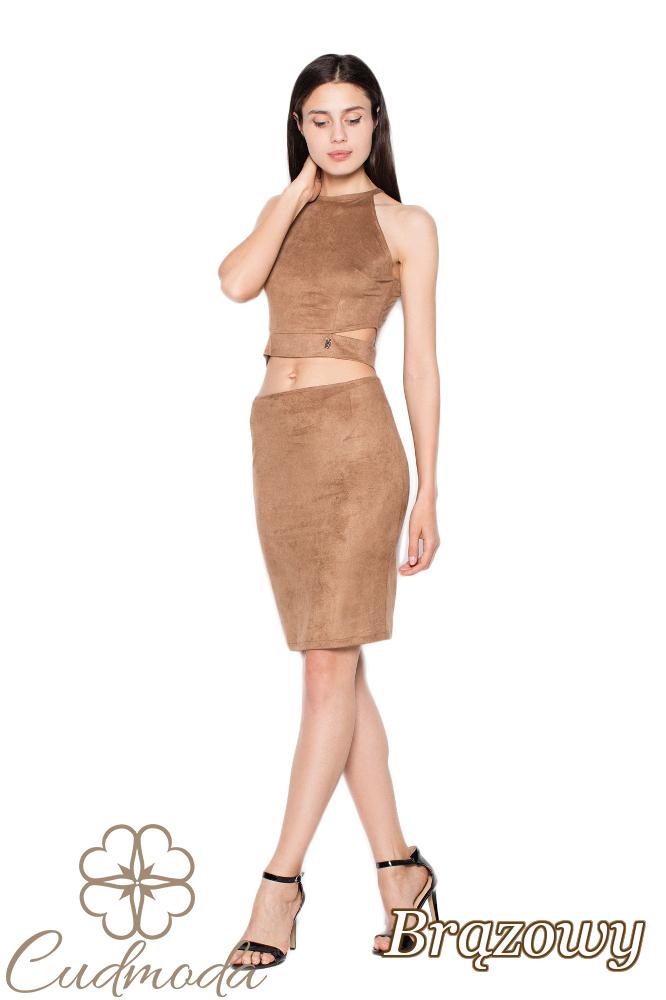 CM2940 Elegancki zamszowy komplet damski - brązowy