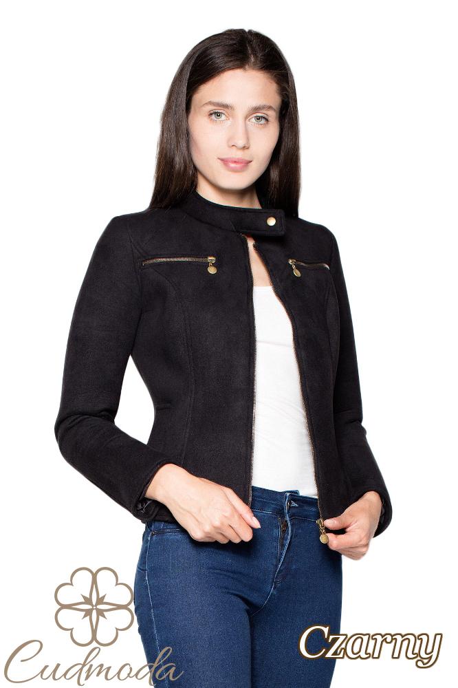 CM2944 Prosta piankowa kurtka damska - czarna
