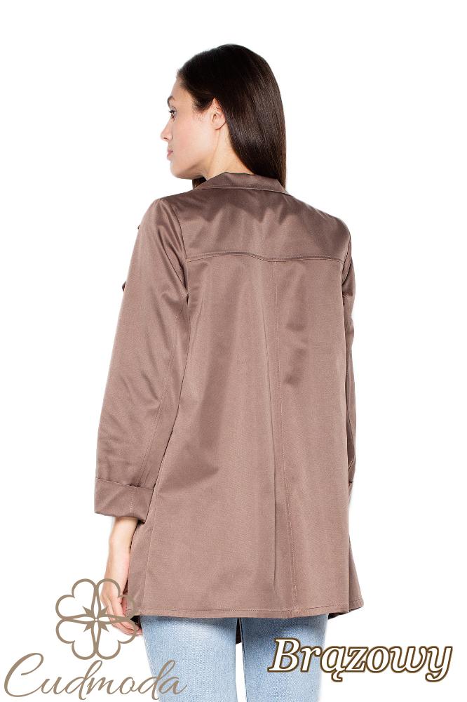 CM2947 Niezapinany płaszcz z rozłożystym kołnierzem - brązowy