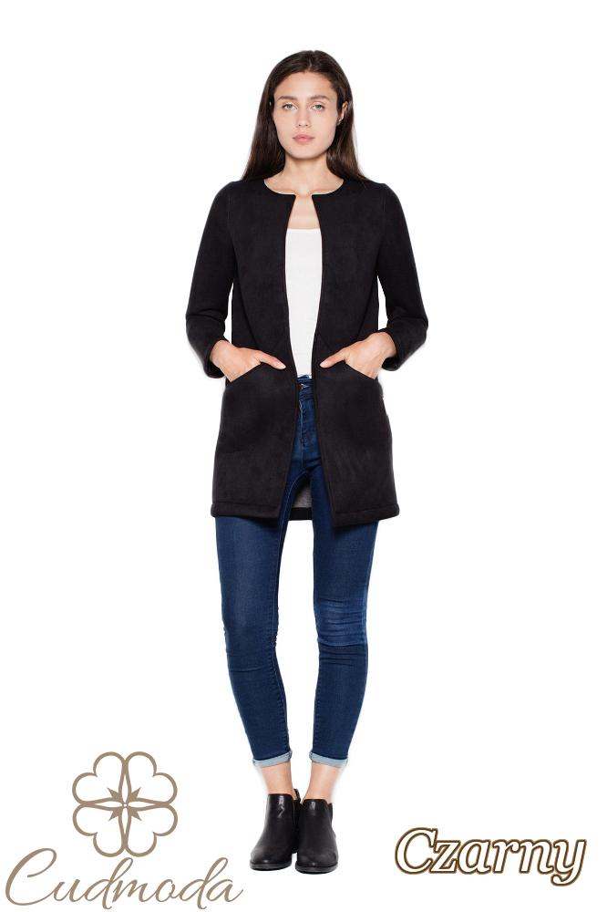 CM2948 Prosty niezapinany płaszcz damski - czarny