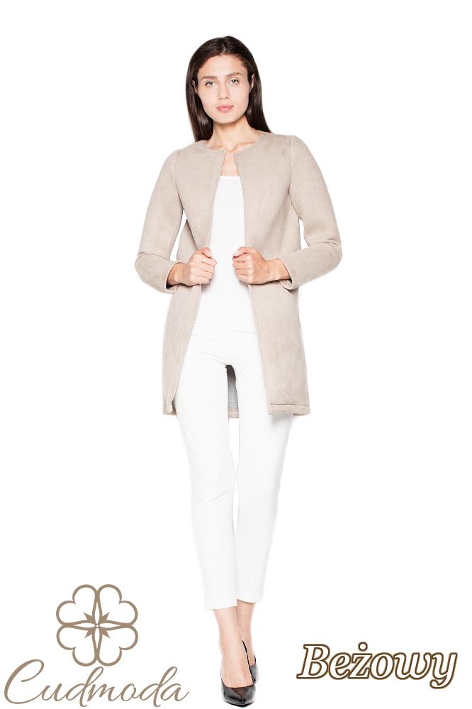 CM2948 Prosty niezapinany płaszcz damski - beżowy