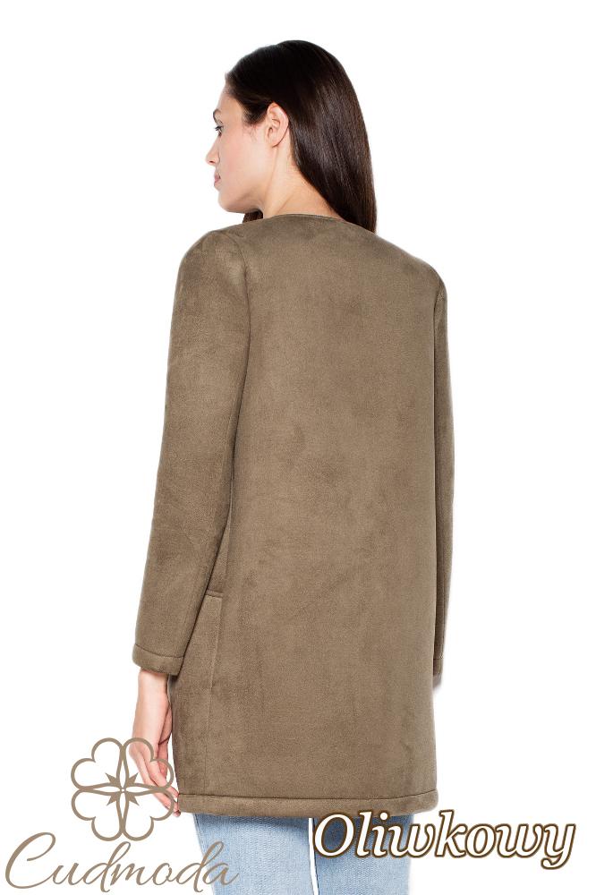 CM2948 Prosty niezapinany płaszcz damski - oliwkowy