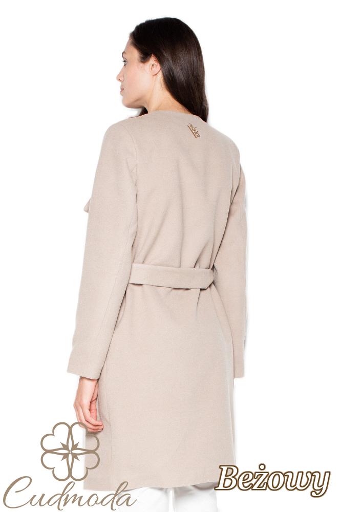 CM2949 Przewiązany elegancki płaszcz damski - beżowy
