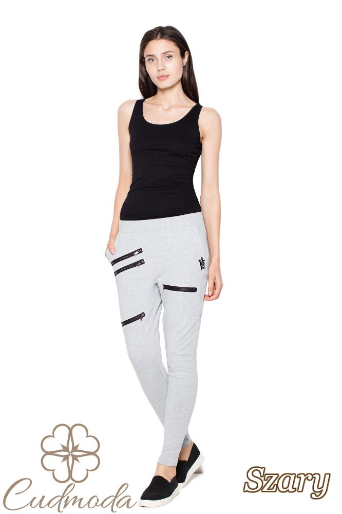CM2952 Damskie spodnie dresowe z obniżonym krokiem - szare
