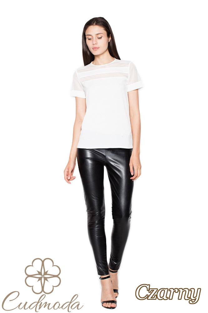 CM2953 Eleganckie spodnie skórzane - czarne