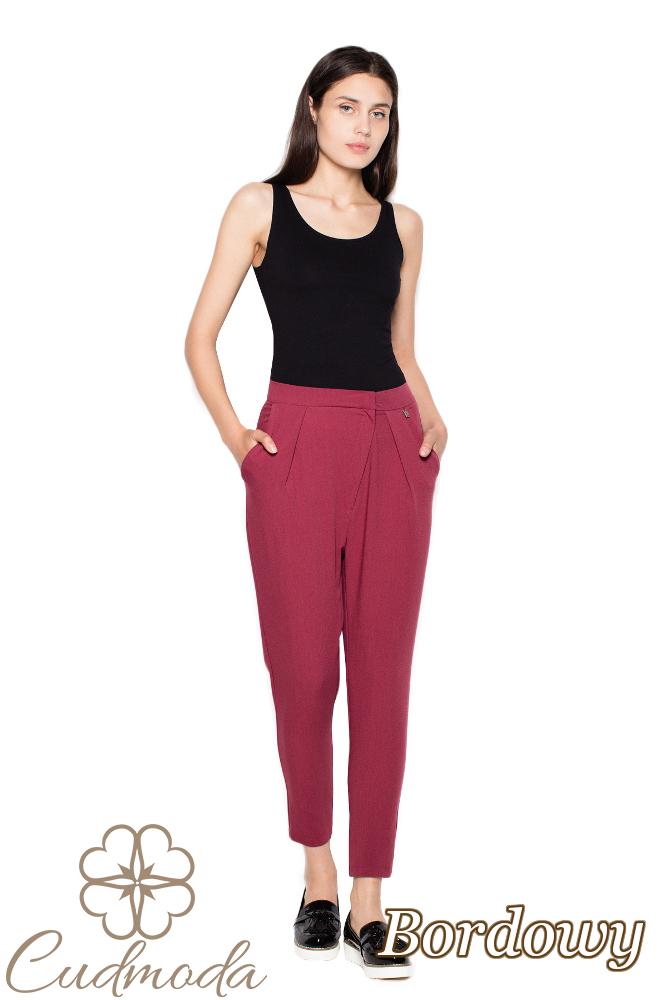 CM2955 Wygodne spodnie z zakładkami przy pasie - bordowe
