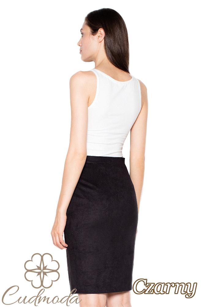 CM2957 Zamszowa spódnica midi zapinana na guziki - czarna