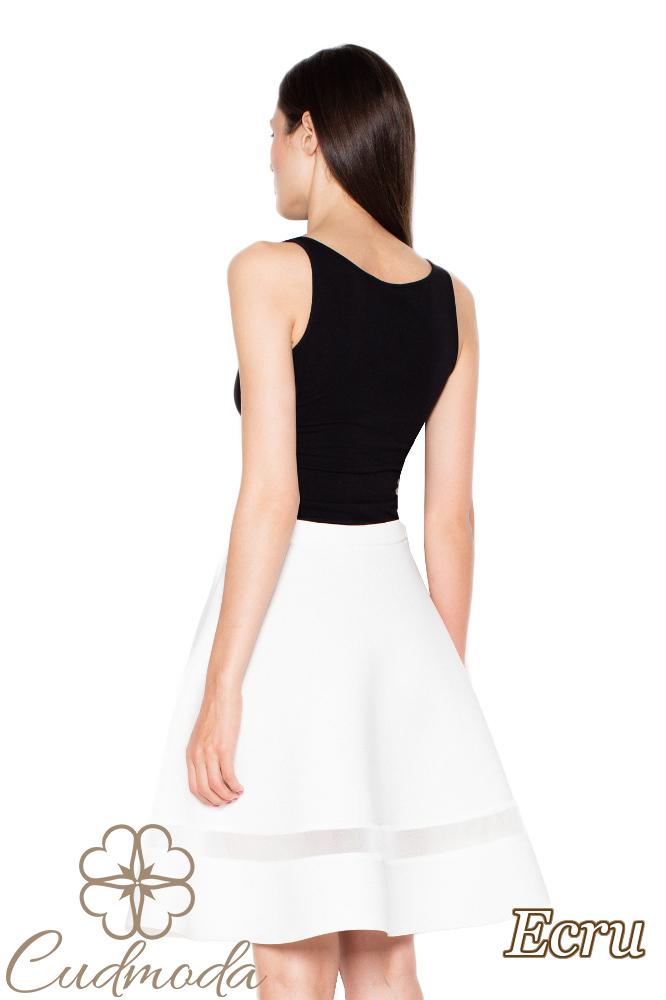 CM2960 Elegancka spódnica z przezroczystą wstawką - ecru