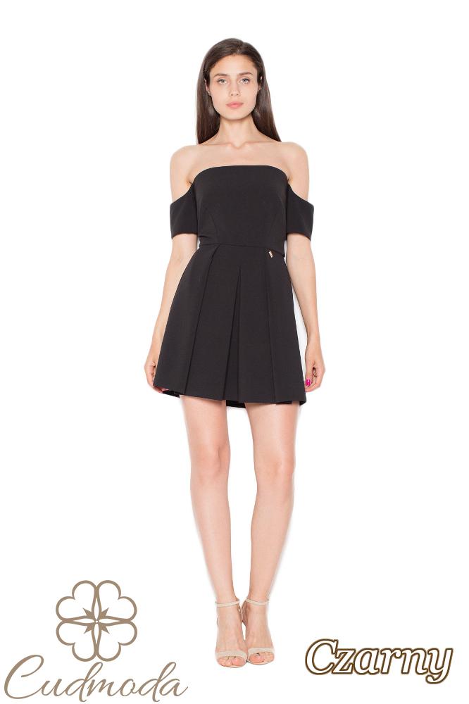 CM2961 Wyjątkowa odcinana sukienka mini - czarna
