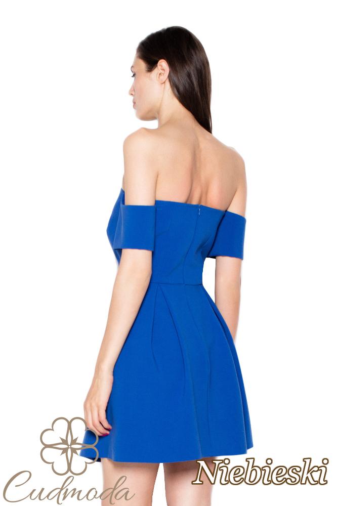 CM2961 Wyjątkowa odcinana sukienka mini - niebieska