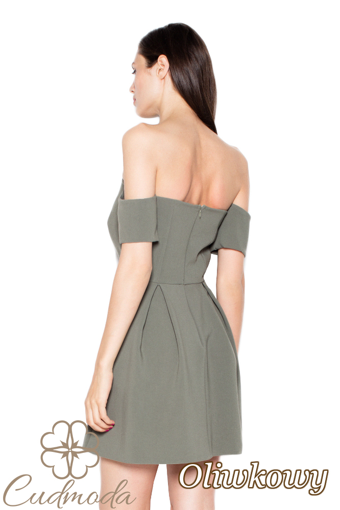 CM2961 Wyjątkowa odcinana sukienka mini - oliwkowa