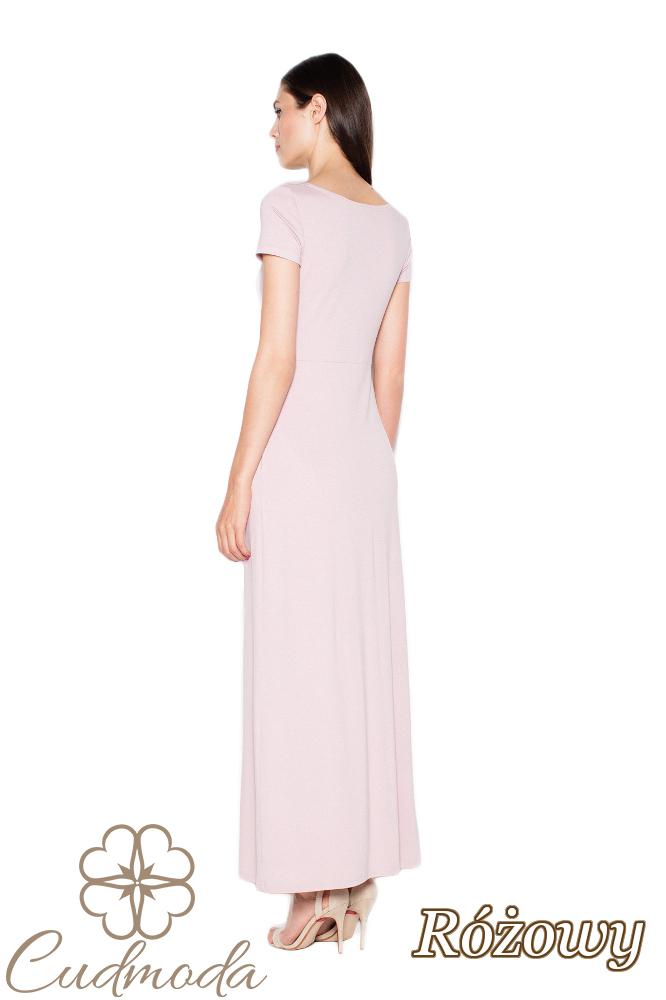 CM2962 Dopasowana sukienka z krótkim rękawem - różowa