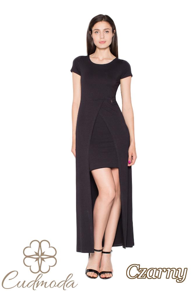 CM2962 Dopasowana sukienka z krótkim rękawem - czarna