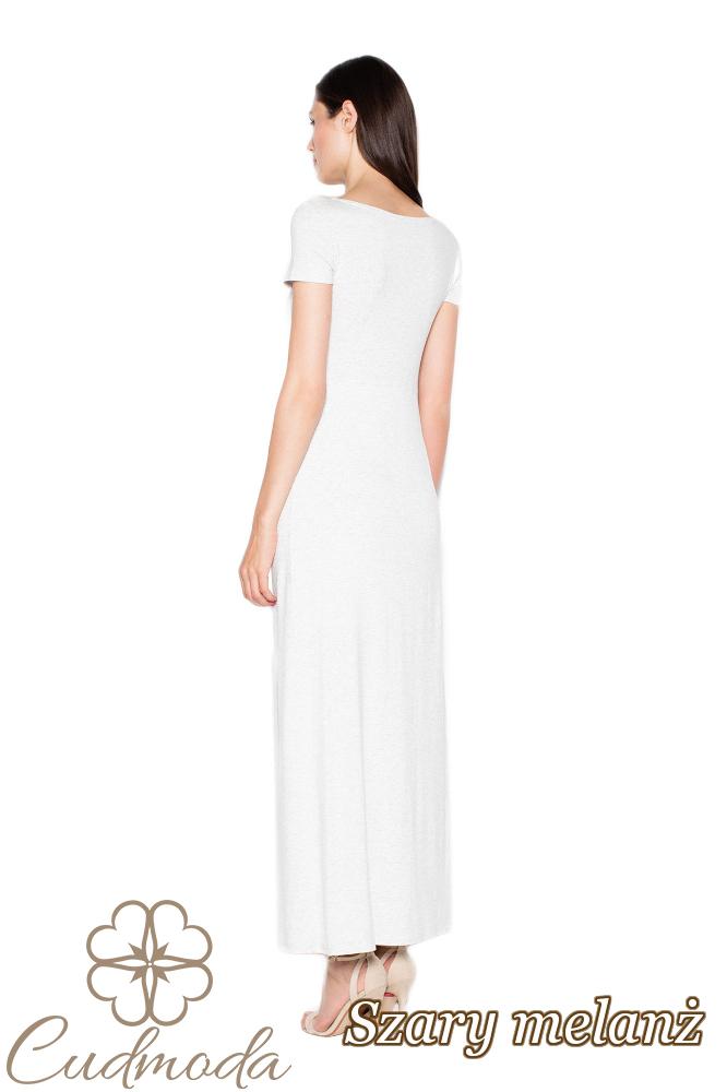 CM2962 Dopasowana sukienka z krótkim rękawem - szary-melanż