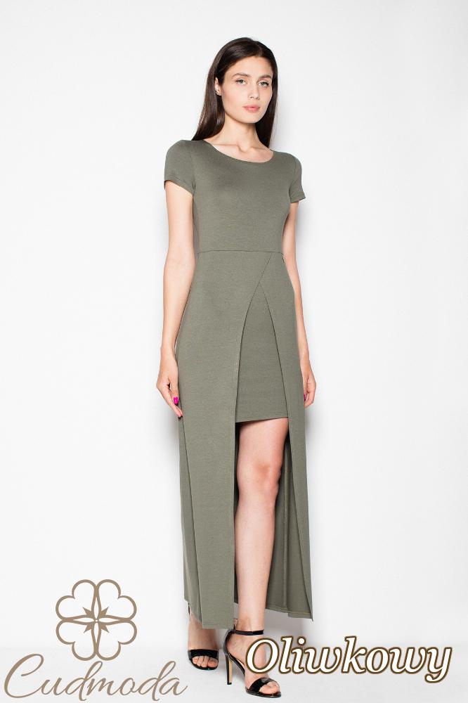 CM2962 Dopasowana sukienka z krótkim rękawem - oliwkowa