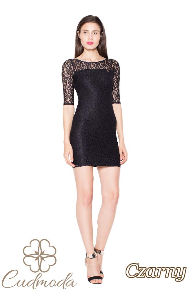 CM2963 Urocza koronkowa sukienka mini - czarna