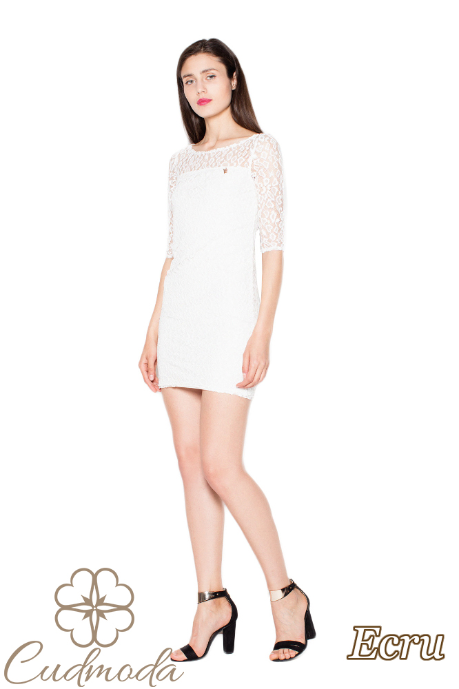 CM2963 Urocza koronkowa sukienka mini - ecru