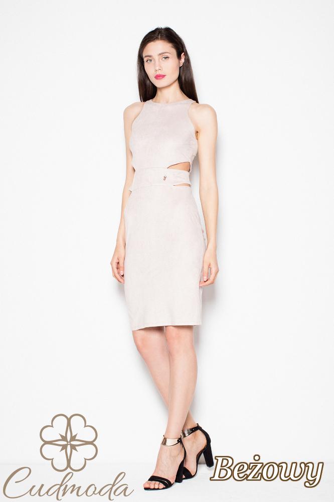 CM2964 Zamszowa sukienka z wycięciami w talii - beżowa