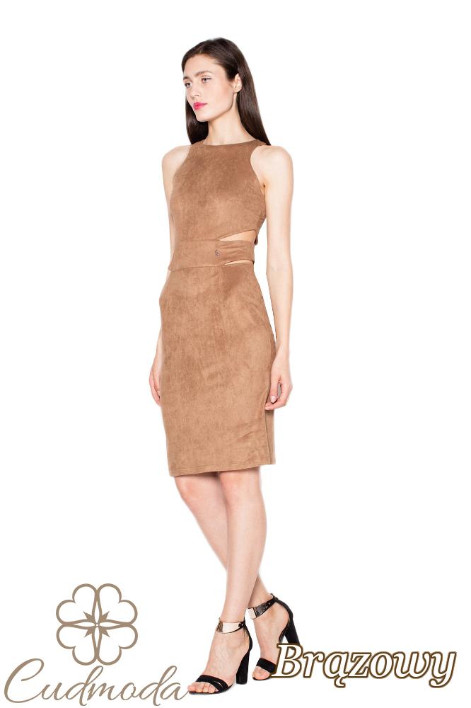 CM2964 Zamszowa sukienka z wycięciami w talii - brązowa