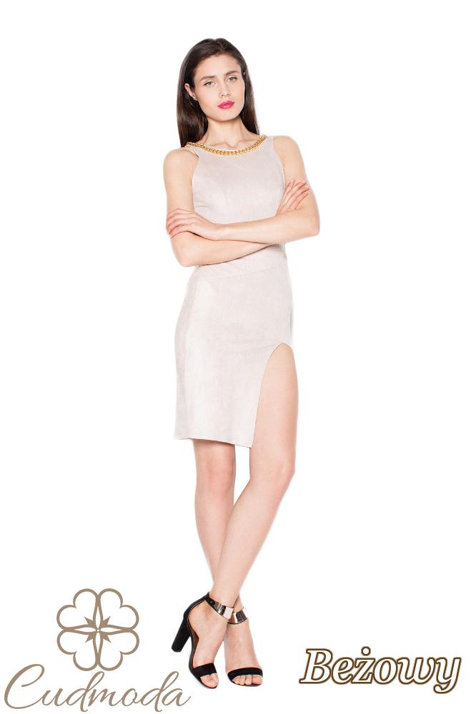 CM2965 Zamszowa sukienka z oryginalnym wycięciem - beżowa