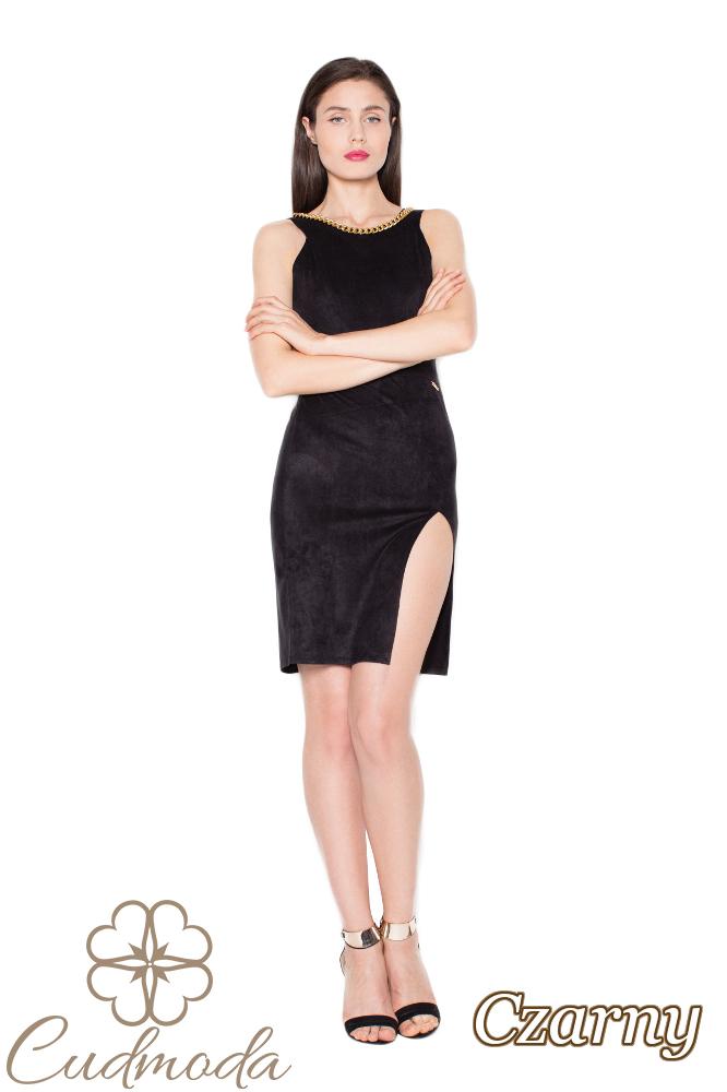 CM2965 Zamszowa sukienka z oryginalnym wycięciem - czarna