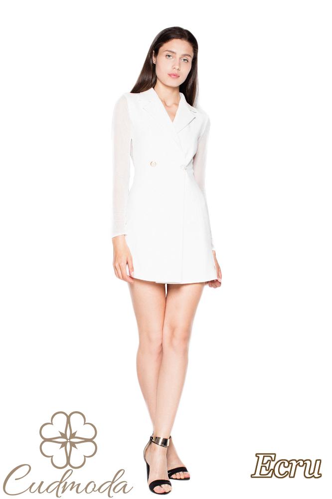 CM2966 Zapinana sukienka żakietowa - ecru