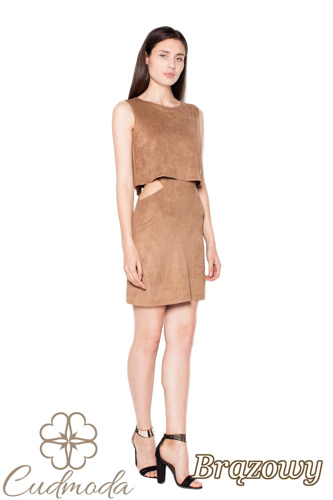 CM2967 Warstwowa sukienka bez rękawów - brązowa