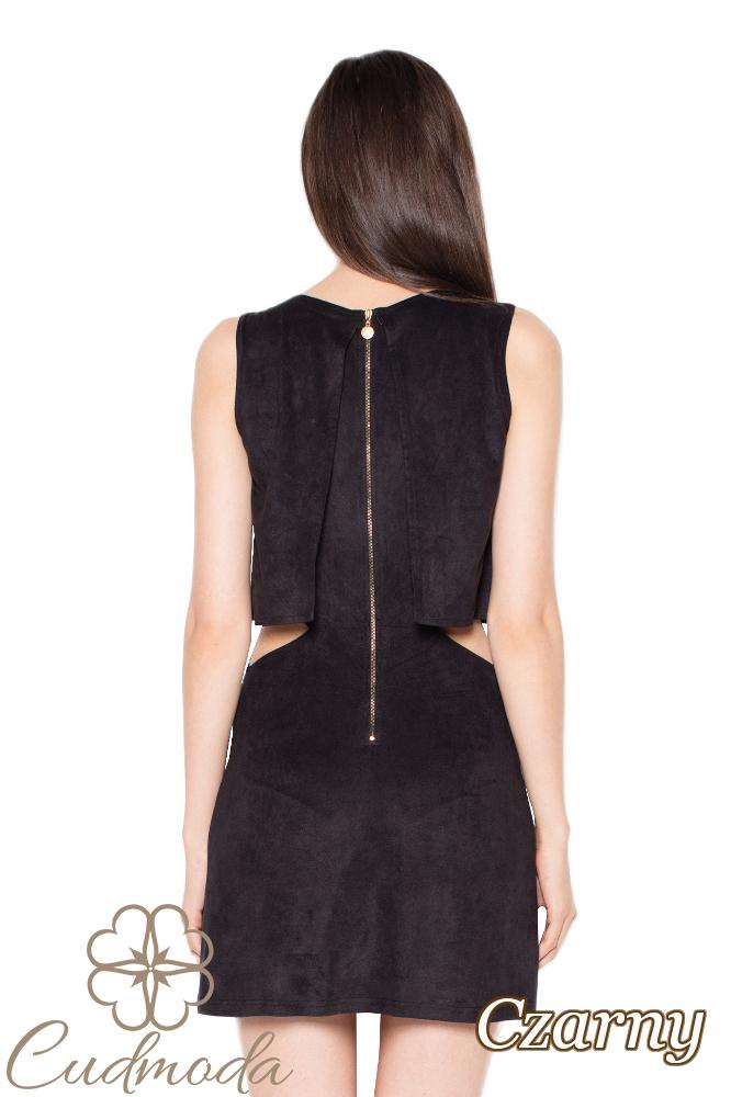 CM2967 Warstwowa sukienka bez rękawów - czarna