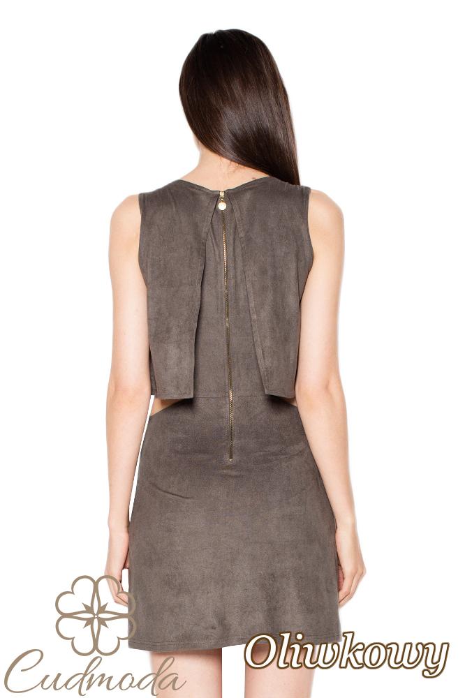 CM2967 Warstwowa sukienka bez rękawów - oliwkowa