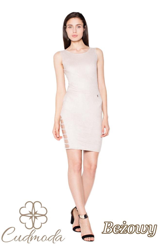 CM2968 Elegancka zamszowa sukienka midi - oliwkowy