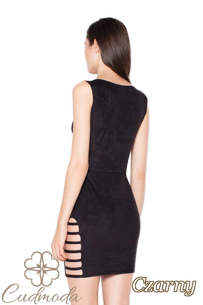 CM2968 Elegancka zamszowa sukienka midi - czarna