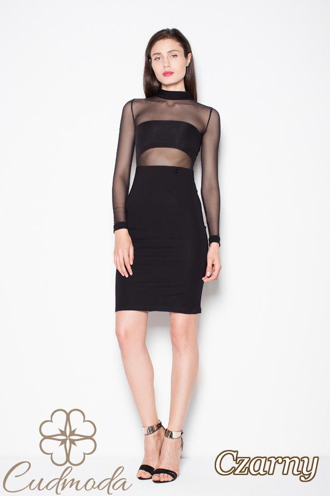 CM2970 Wyjątkowa sukienka z długim rękawem - czarna