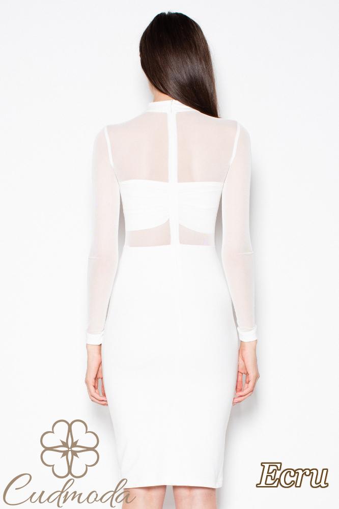 CM2970 Wyjątkowa sukienka z długim rękawem - ecru