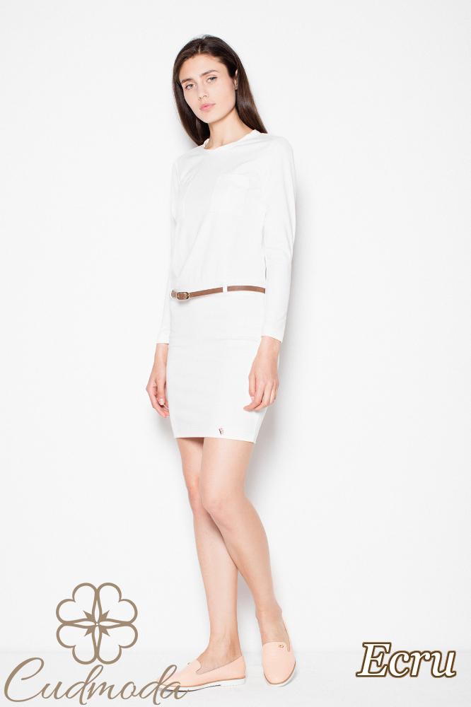 CM2974 Komfortowa sukienka midi z długim rękawem - ecru