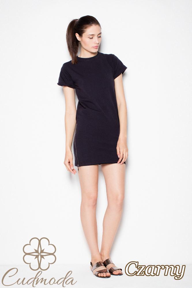 CM2975 Nowoczesna sukienka mini dresowa - czarna