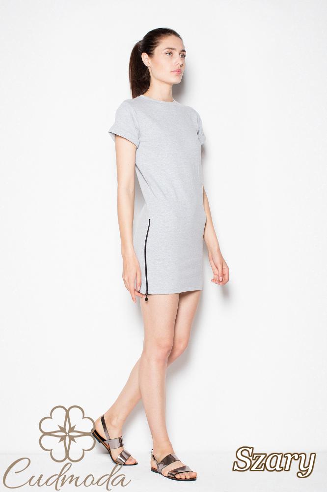 CM2975 Nowoczesna sukienka mini dresowa - szara