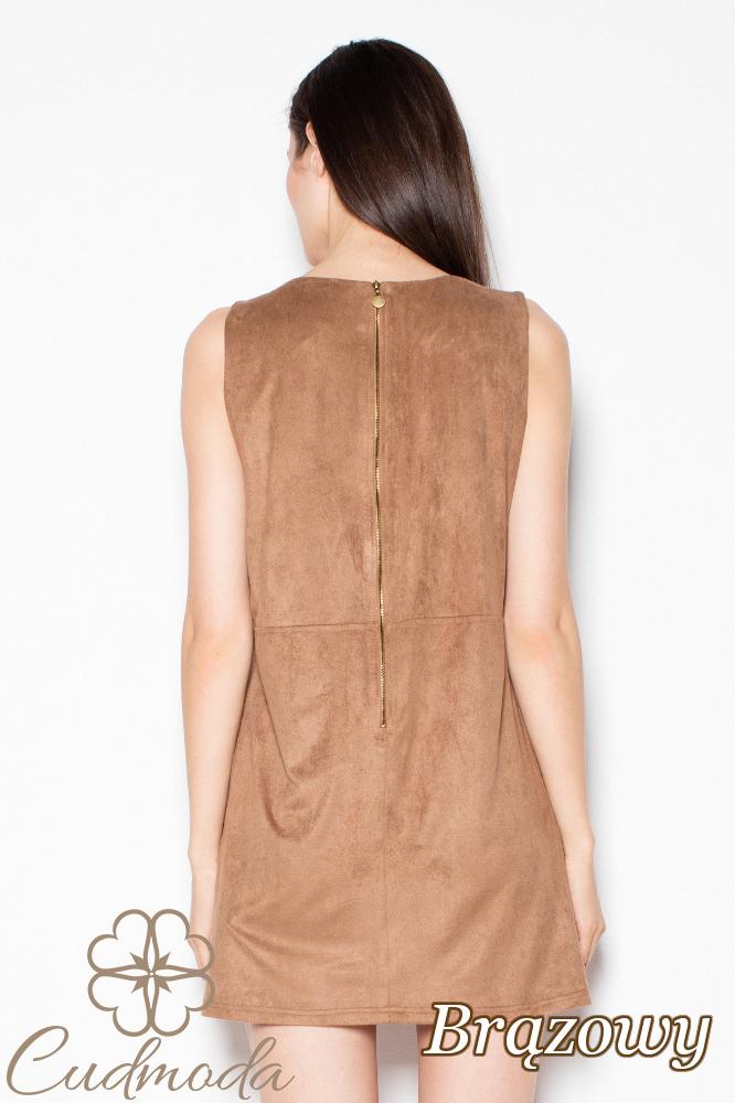 CM2976 Prosta stylowa sukienka mini na ramiączkach - brązowa