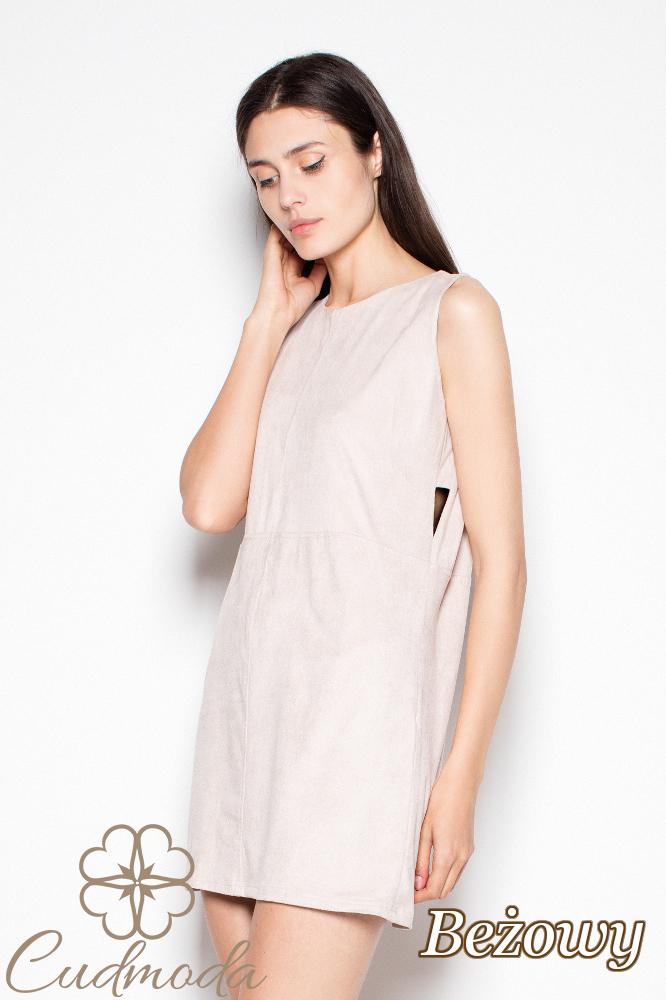 CM2976 Prosta stylowa sukienka mini na ramiączkach - beżowa