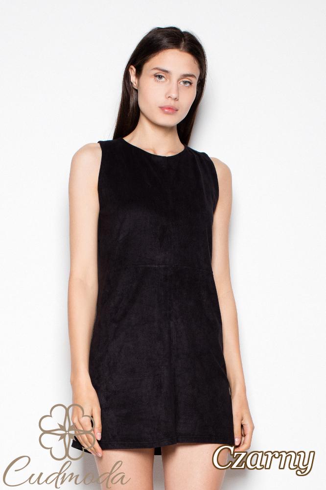 CM2976 Prosta stylowa sukienka mini na ramiączkach - czarna