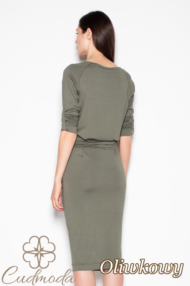 CM2977 Sportowa sukienka dzianinowa - oliwkowa